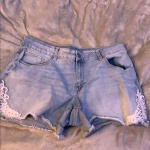 Size 16 denim shorts with lace detailing
